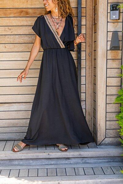 Güneşkızı Kadın Siyah Airobin Omzu Tokalı Hasır Detaylı Beli Büzgülü Uzun Elbise GK-BST3127
