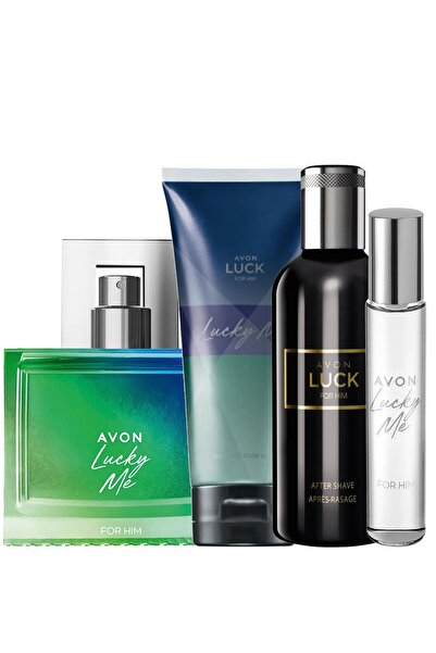 AVON Lucky Me Erkek Parfüm Saç Vücut Şampuanı Ve Luck Tıraş Sonrası Paketi