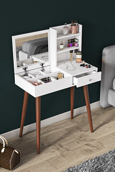 Canisa Concept Premium Serisi Aynalı Makyaj Masası Takı Dolabı Beyaz Ceviz
