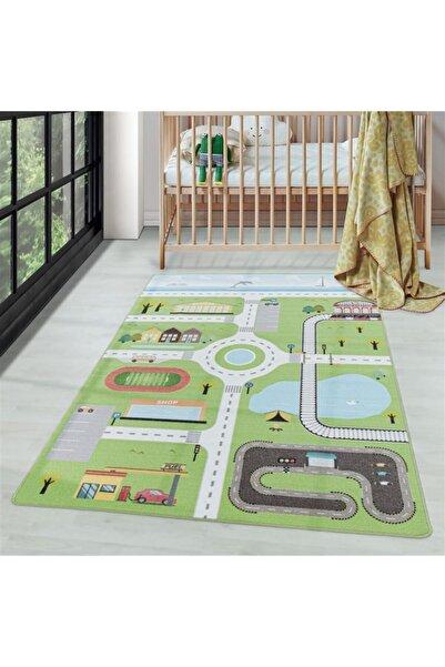 AYYILDIZ Çocuk Bebek Odası Oyun Halısı Şehir Ve Trafik Temalı Yeşil Tonlarda