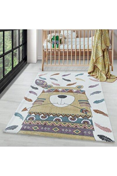 AYYILDIZ Çocuk Bebek Odası Halısı Kızılderili Ayı Tüy Temalı Sarı Beyaz