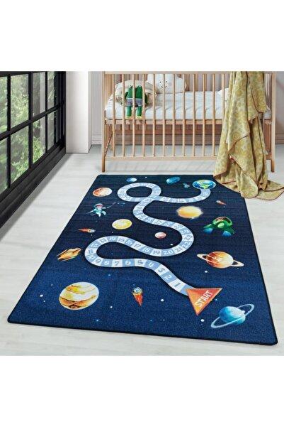 AYYILDIZ Çocuk Bebek Odası Oyun Halısı Uzay Gezegenler Temalı Lacivert Tonlarda