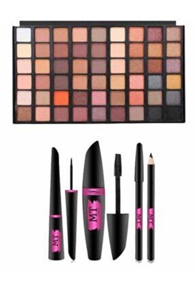 Makeuptime Kiraz 54'lü Far Paleti Ve 3'lü Rimel+eyeliner+göz Kalemi Seti