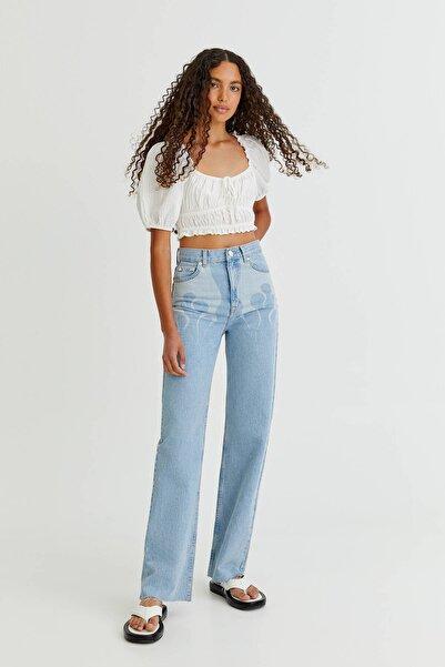 Pull & Bear Alev Baskılı Straight Fit Jean