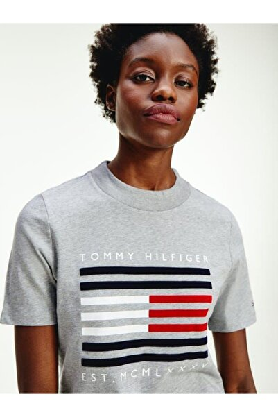 Tommy Hilfiger Crew Neck Flock Woman Kadın T-shirt