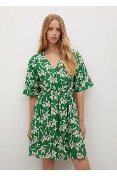 MANGO Woman Kadın Yeşil Desenli Fırfırlı Elbise