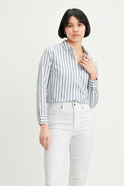 Levi's Kadın Mavi Çizgili Düz Yaka Gömlek Gömlek 34574