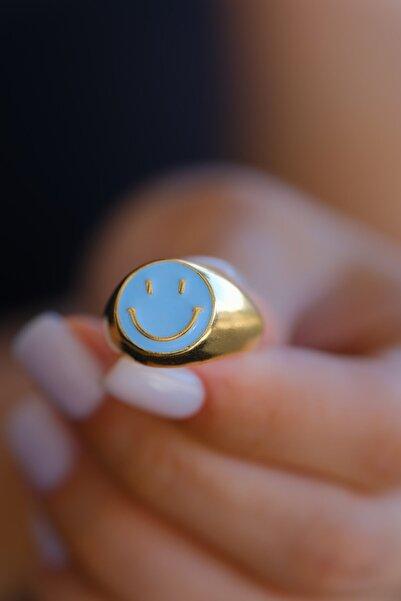 Venita Design Kadın Mavi Gülen Yüz Yüzük