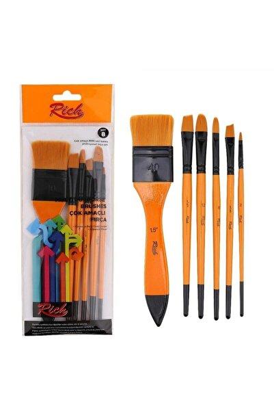Rich Set8 6 Lı Fırça Seti Resim Fırçası Akrilik Sulu Yağlı Guaj