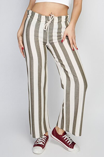 Rodi Kadın Geniş Çizgili Lastik Bel Bol Paça Pantolon Rd21yb010111