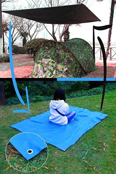 Vivyan Çift Taraflı Çok Amaçlı Katlanır Kamp Çadırı Gölgelik Güneşlik Branda 160 X 200 Cm + Ip + Çanta Set