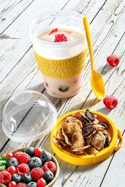 Tilbe Home Kapaklı Kaşıklı Yoğurt Kabı Meyve Bölmeli Shaker Ergonomik Tasarım Fruit Diyet Kabı