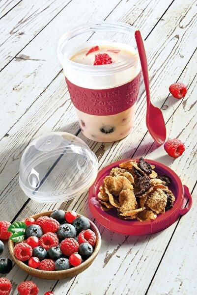 Tilbe Home Take'n Go Kapaklı Kaşıklı Yoğurt Kabı Meyve Bölmeli Shaker Ergonomik Tasarım Fruit Diyet Kabı