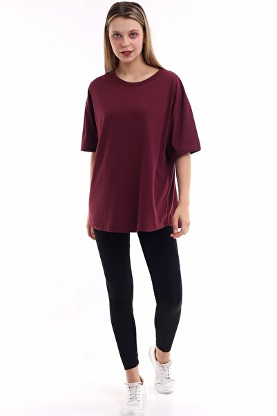 SCSARVİN Bordo Kadın Oval Kesim Oversize T-shirt