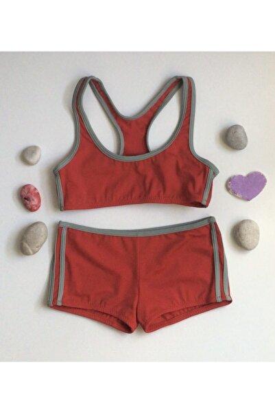 Kom Kız Çocuk Sporcu Bikini Kırmızı Şortlu Bikini