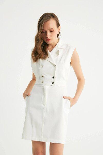 Robin Çıt Çıt Detaylı Cepli Jean Elbise Beyaz