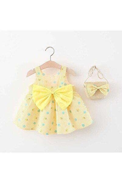 Little Honey Bunnies Sarı Puantiye Desenli Fiyonk Elbise Ve Çanta Ikili Set