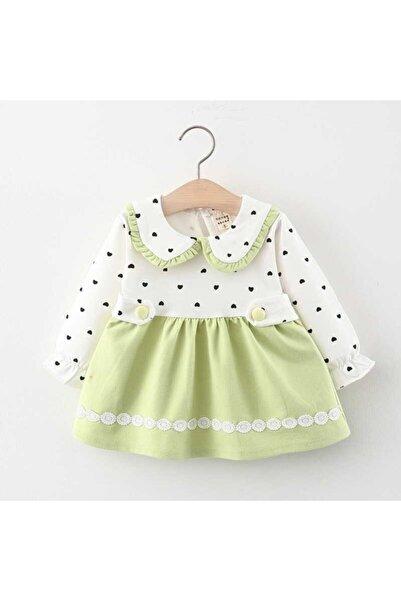 Little Honey Bunnies Puantiye Detayı Yeşil Elbise