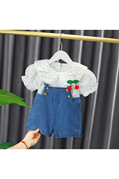 Little Honey Bunnies Çiçekli Gömlek Ve Mavi Salopet 2'li Set