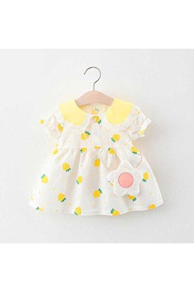 Little Honey Bunnies Sarı Çilek Desenli Beyaz Elbise Ve Çanta 2'li Set