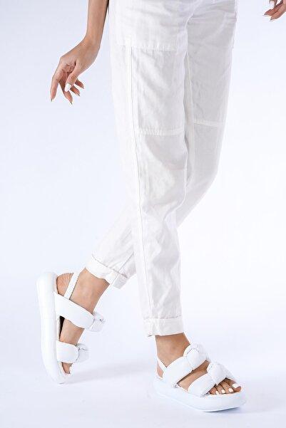 bescobel Kadın Çift Bant Bağlı Sandalet