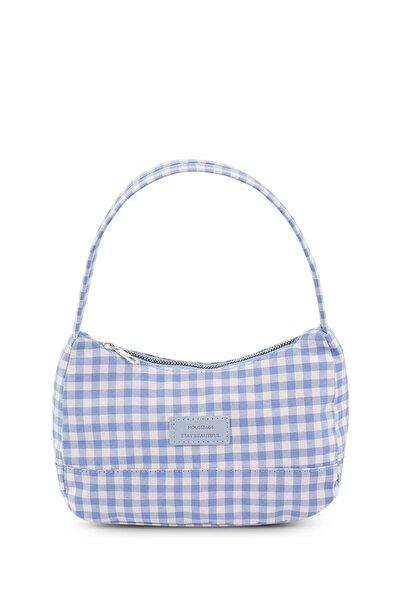 Housebags Kadın Pötikareli Mavi Baguette Çanta 197