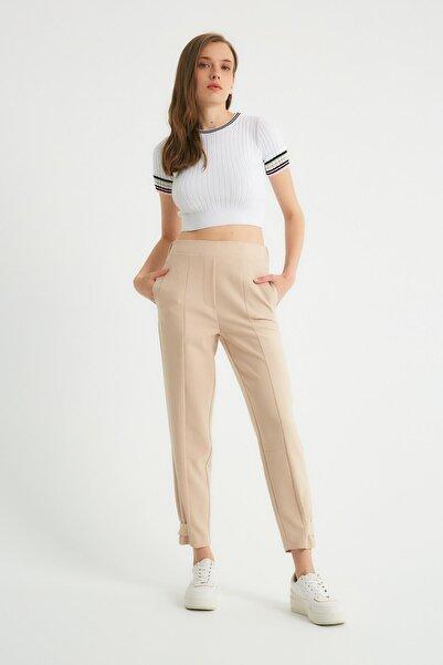 Robin Paça Detaylı Cepli Pantolon Taş