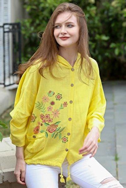 Kadın Sarı Gül Baskılı Kapüşonlu Cep Detaylı Beli İp Büzgülü Dokuma Ceket M10210100CE99031