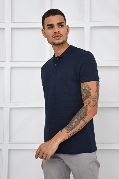 Fabrika Erkek Lacivert Rahat Polo Yaka Tshirt