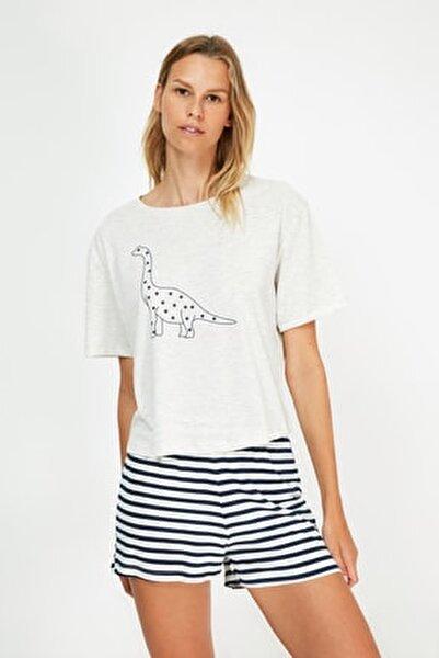 Çok Renkli Baskılı Örme Pijama Takımı THMSS21PT1472