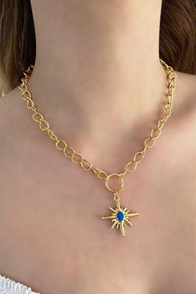 TAKIŞTIR Altın Renk Mavi Kutup Yıldızı Figürlü Zincir Kolye