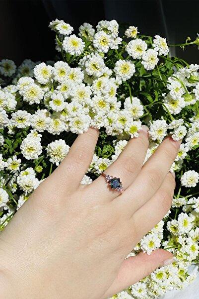 LOTUS GÜMÜŞ Kadın Kare Mistik Topaz 14k Rose Altın Kaplama Taşlı Yüzük