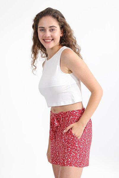 MD trend Kadın Ekru Askılı Basic Crop Bluz