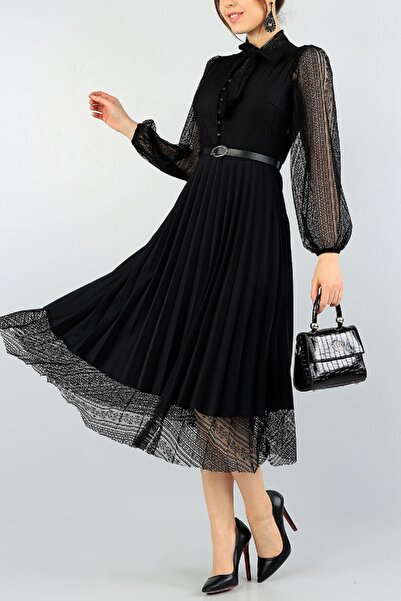 lovebox Pilise Detaylı Uzun Kollu Siyah Dantel Abiye Elbise 57834