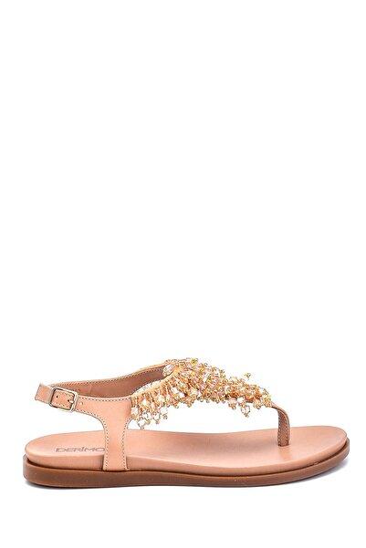 Derimod Kadın Boncuk Detaylı Deri Sandalet
