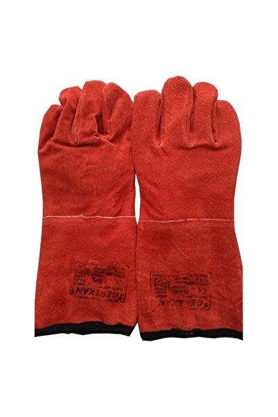 Eldivenx Gerekan Kırmızı Deri Kaynakçı Eldiveni 35 Cm 10 Beden 10 Çift