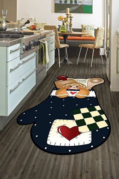colizon Dekoratif Yıkanabilir Kaymaz Tabanlı Lazer Kesim Mutfak Halısı