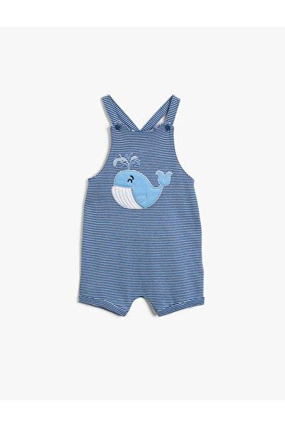 Koton Erkek Bebek Mavi Çizgili Tulum