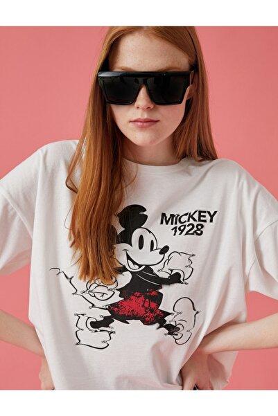 Koton Kadın Mickey Mouse Lisansli Pamuklu T-Shirt  1YAL18324IK