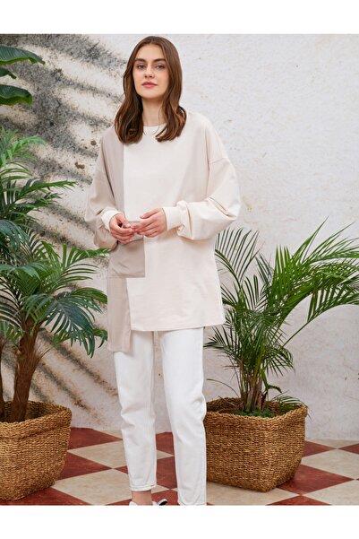 Koton Kadın  Renk Bloklu Sweatshirt Asimetrik Cep Detayli Uzun