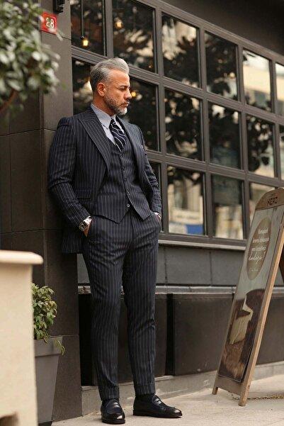 Fc Plus Erkek Lacivert Geniş Yaka Puntolu Plus Yelekli Takım Elbise