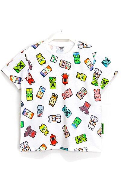 MINECRAFT Karakterleri 360 Derece Baskılı Çocuk T-shirt Beyaz