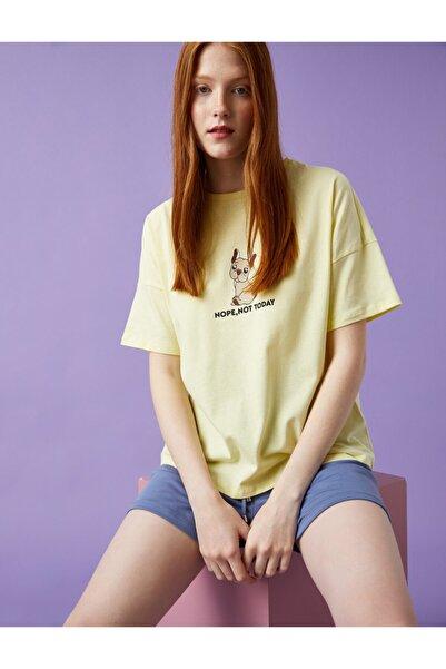 Koton Kadın Baskılı Tişört Pamuklu Sarı