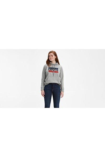 Levi's Sport Graphic Kadın Gri Kapüşonlu Sweatshirt
