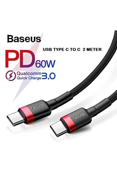 Baseus Cafule Hızlı Şarj Kablosu Type-c To Type-c 3a 2 Metre Siyah Kırmızı 60w Hızlı Şarj
