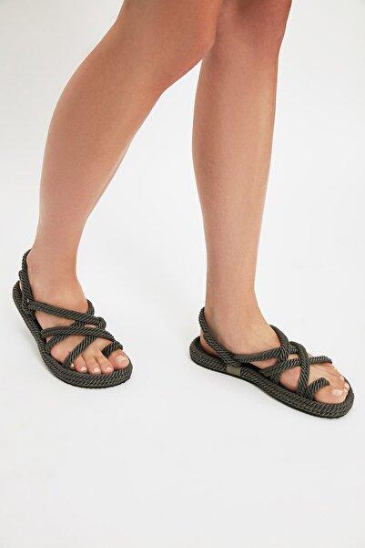 TRENDYOL SHOES Gri Hasır Halat İpli Kadın Sandalet TAKSS21SD0002