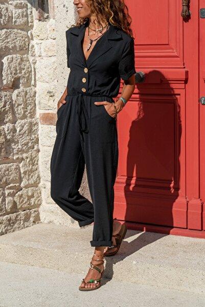 Güneşkızı Kadın Siyah Ceket Yaka Beli Lastikli Airobin Tulum Gk-Bsty2622