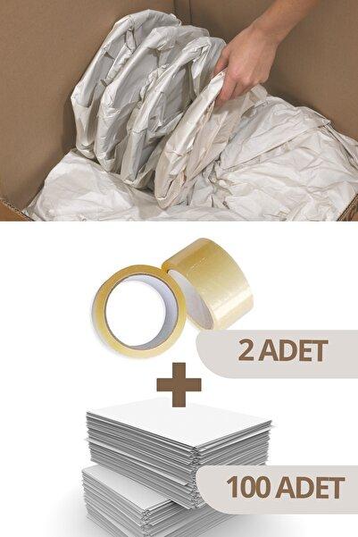 Varbifırsat 40x60 Tabak - Bardak Sarma Taşıma Taşınma Paketleme Kağıdı 100 Adet - 2 Adet Koli Bandı