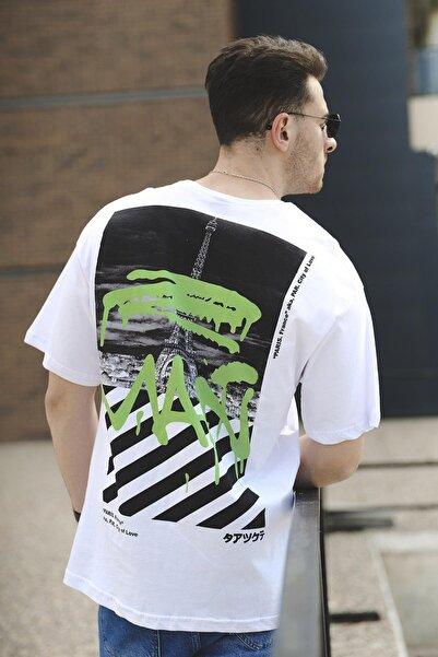 Oksit Paris Man Neon Baskılı Unisex Oversize Tshirt