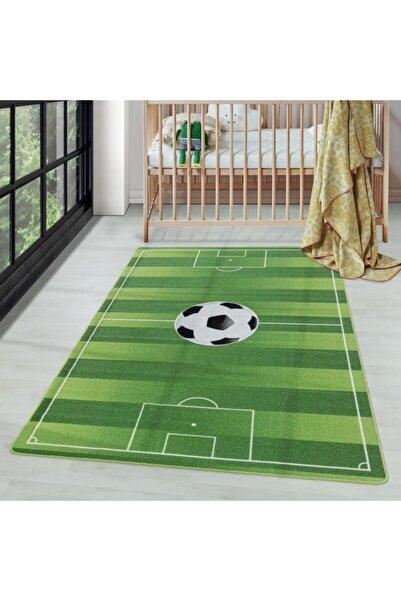 AYYILDIZ Çocuk Bebek Odası Oyun Halısı Futbol Sahası Temalı Yeşil Tonlarda